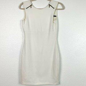 Zara Medium White Zipper Sleeveless Bodycon Dress